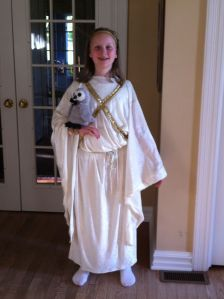 Eleven dressed as Athena, goddess of wisdom. Yes, yes she is.