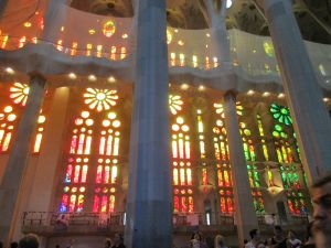 One of the soaring windows of the Sagrada Familia