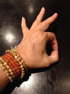 A mudra, or hand gesture, that inspires knowledge and concentration. This is one of my favorites, and I've just learned it's also good for insomnia. See you at 3:23am Gyan Mudra.